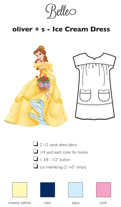 Sewing for Disney: Belle {organizational shopping card}