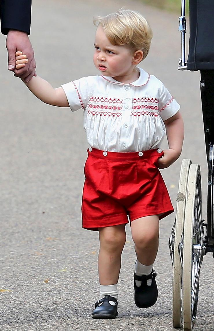 Prince George, attending Princess Charlotte's christening